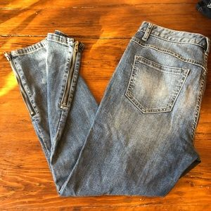 ⬇️ Free people zipper ankle light wash jeans